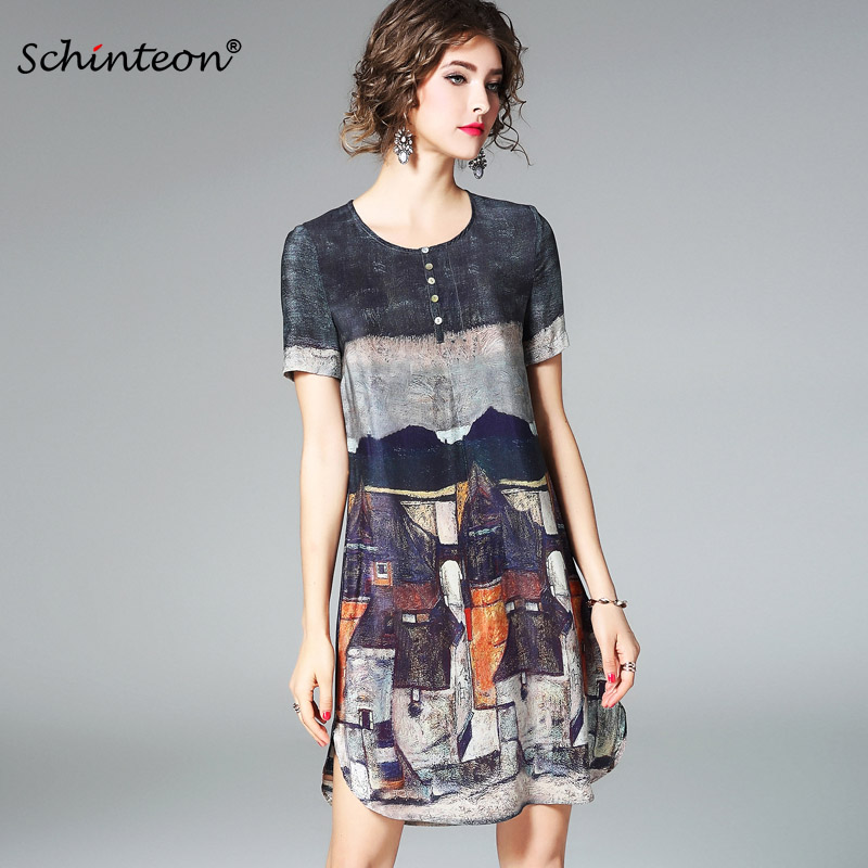 2018 100% Real Silk Dress Women Summer Vintage A-line Printing Loose Plus Size Dresses Top Quality Short Sleeves S-3XL a-line