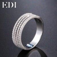 EDI 독특한 헬기 천연 다이아몬드 반지 14 천개 585 화이트 골드 웨딩 밴드 여성 고급 보석