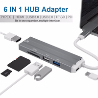 Basix 6 In 1 USB C HUB 4K HDMI Video Audio Cable Adapter Type C To HDMI Usb 3.0/usb 2.0 with SD/TF Card Reader Type C USB HUB