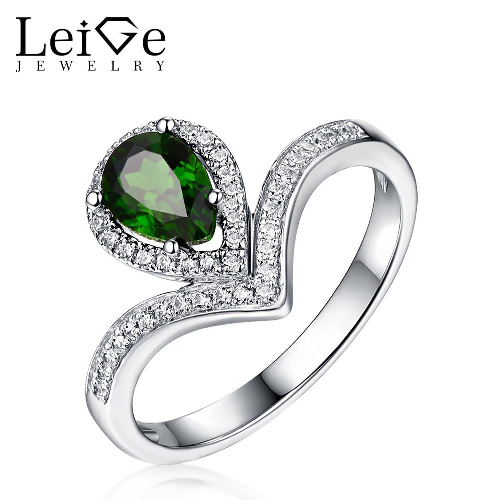 Leige šperky Sterling Silver Diopside prsten přírodní zelený - Šperky
