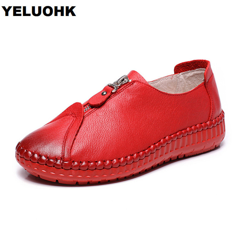 New Brand Genuine Leather Shoes Women Flat Comfortable Slip On Women Moccasins Loafers Casual Shoes Spring Autumn Soft Leather цена