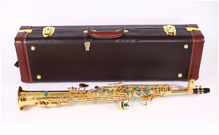 Professional Soprano Saxophone R54 gold Lacquer Brass Top Sax Straight One tube Musical instrument Mouthpiece Accessories