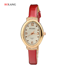 BOLANG Fashion Small Quartz Ladies Wrist watches Women Elegant Oval Hours Red Party Female Bracelet Watch 2017 Festival Gift