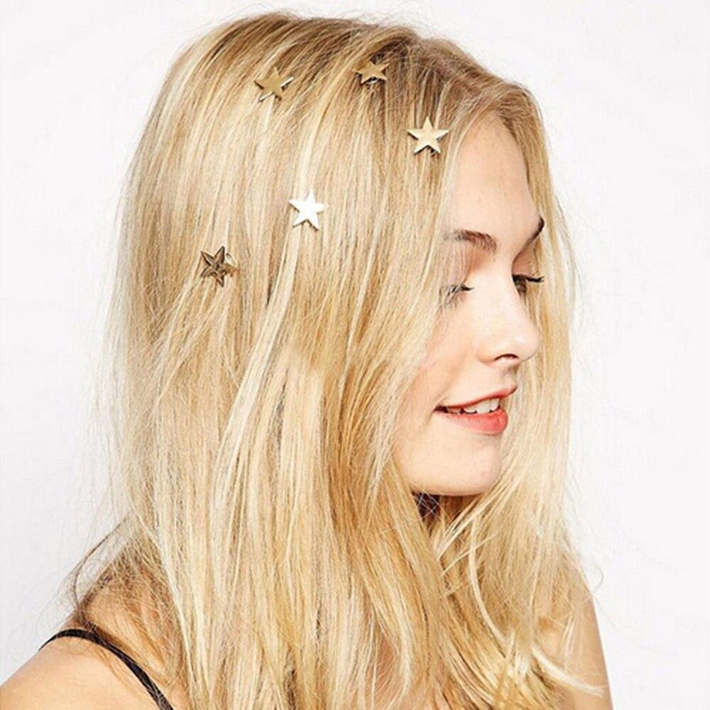 5Pcs Bridesmaid Gift Gold Wedding Bridal Hair Pins Clips Star Hairpins Hairclips HairgripSpiral Claw Stick Headwear Barrettes