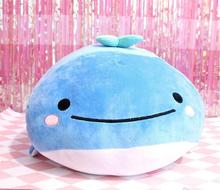 candice guo! super cute plush toy lovely san-x blue classic spotty whale soft stuffed cushion blanket birthday Christmas gift 1p