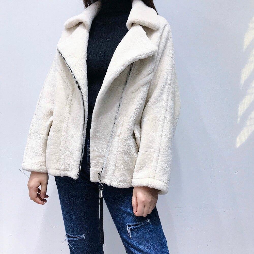 2018 Fourrure Lady Mode Lâche Véritable Chaud Manteau Chauve Solide Moutons De Mérinos Nouvelle Réel 100 D'agneau Manches souris Épais Outwears À rrT8q