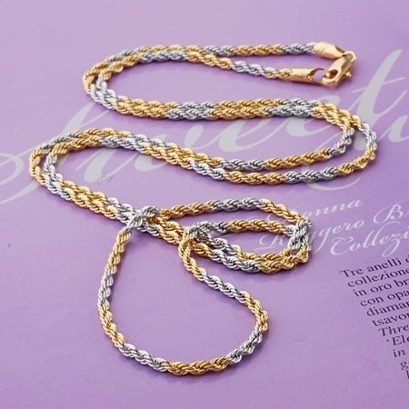 Gold and platinum chain necklace(2.0mm)-in Chain Necklaces