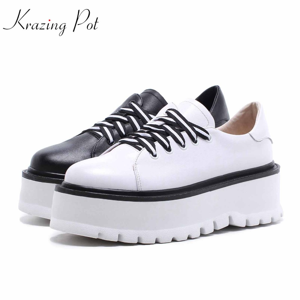 Krazing Pot new cow leather women round toe European style original design thick bottom women pumps cross-tied lace up shoes L82 krazing pot 2018 cow leather simple design breathable high heels hollow women pumps round toe brown white color brand shoes l92