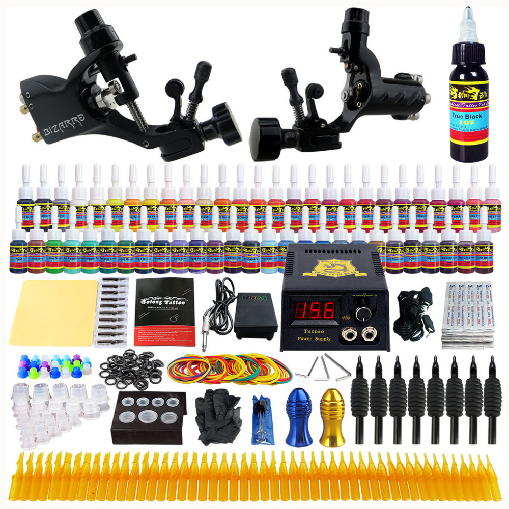ФОТО Starter Beginner Complete Tattoo Kit Professional Tattoo Machine Kit Rotary Machine Guns 54 Inks Power Supply Grips Set tk255