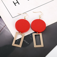 Large nightclub drop earrings temperament retro red square wood geometry personality delicate dangle