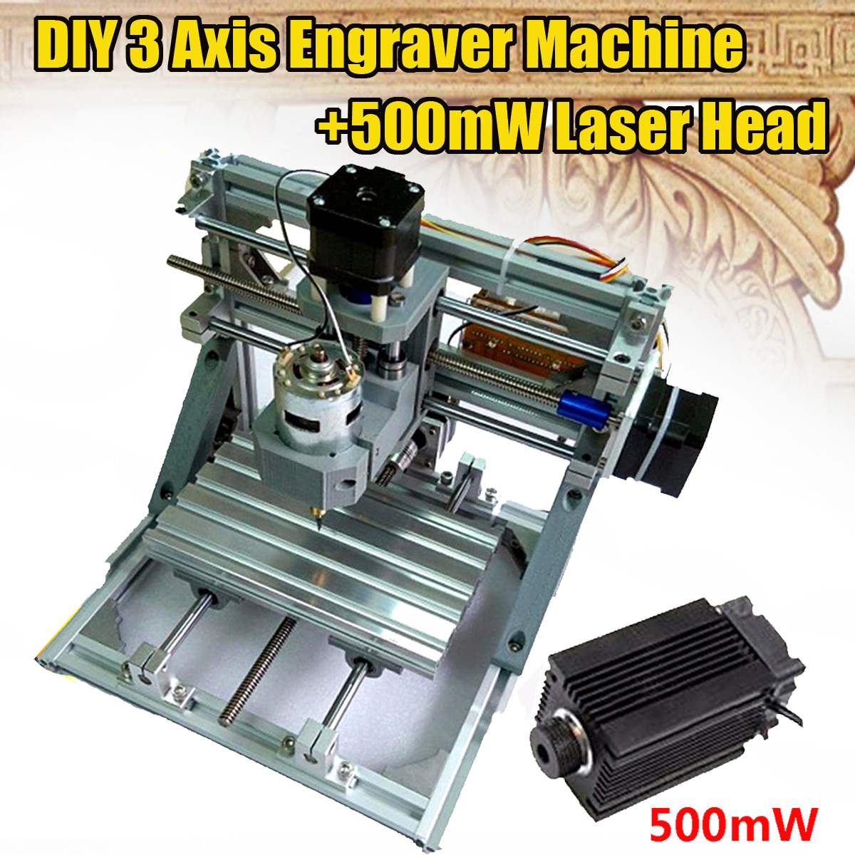 DIY 3 Axis Engraver Milling Wood Carving CNC Engraving Machine +500MW Laser Head Working Area 160 X 105 X 30mm laser head owx8060 owy8075 onp8170