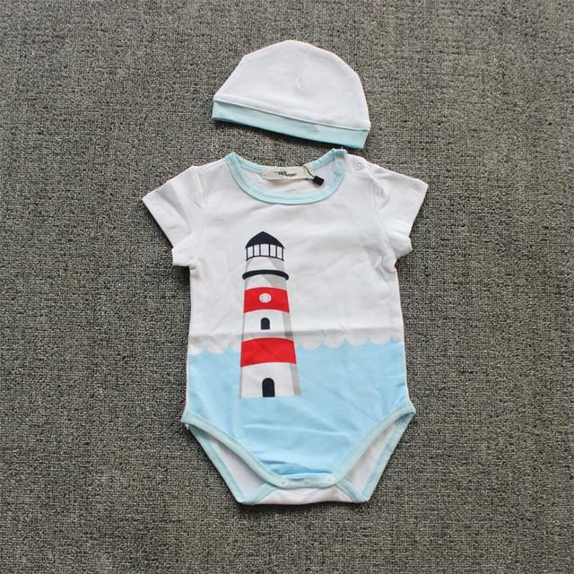 100%Cotton Summer Brand Lighthouse Baby Bodysuit With Hat Fashion Newborn Onesie