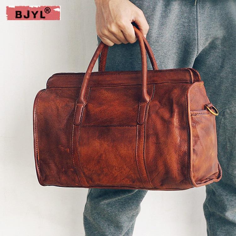 BJYL 2018 new first layer cowhide Men handbags hand-brushed shoulder slung bag retro male genuine leather travel messenger bag цена