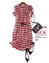 2019 New Ukraine Elegant Contrast Tie Waist Layered Ruffle High Dress Women Summer Office Lady A Line Party Dresses L-3XL tie neck contrast binding ruffle dress