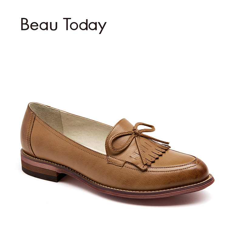 BeauToday Women Loafers Tassel Bowknot Decoration Moccasin Genuine Leather Sheepskin Pointed Toe Lady Flats Slip On Shoes 27031 beautoday genuine leather crystal loafer shoes women round toe slip on casual shoes sheepskin leather flats 27038