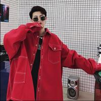 Spring and autumn jacket show models oversize ultra wide super long red denim jackets hairstylist personality men's clothing