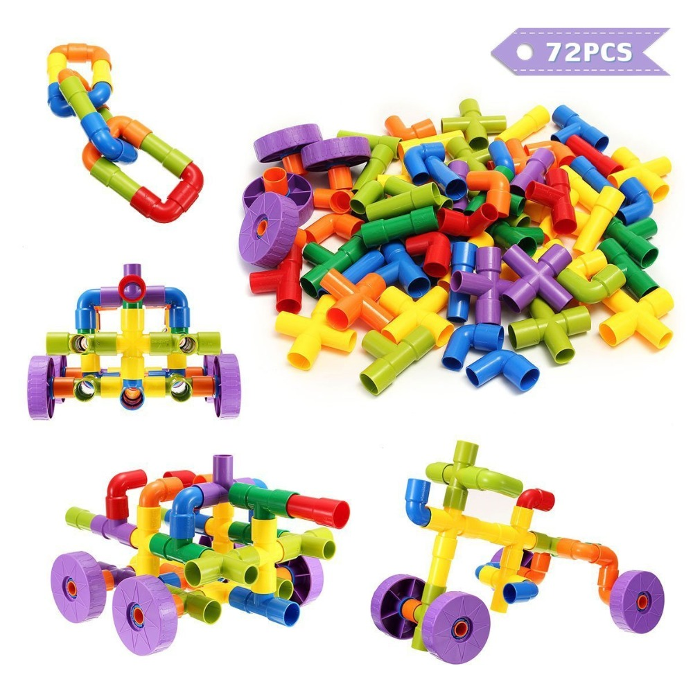 e1243f046 Detail Feedback Questions about Construction Building Blocks Creative Water  Pipe Tube Interlocking Set Puzzle Toy for Kids Children 72 Blocks in 7  Colors on ...