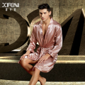XIFENNI Male Imitation Silk Sleeping Robe Long-Sleeve Embroidery Satin Silk Bathrobes Softness Comfortable Men Sleepwear 3316