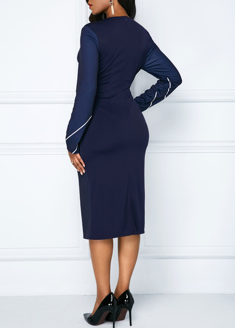 Sakazy Office Lady Geometric O-neck Women Dress Long Sleeves Colour coloured Slim And Hip wrapped Pencil 2019  Plus Size Dress 3