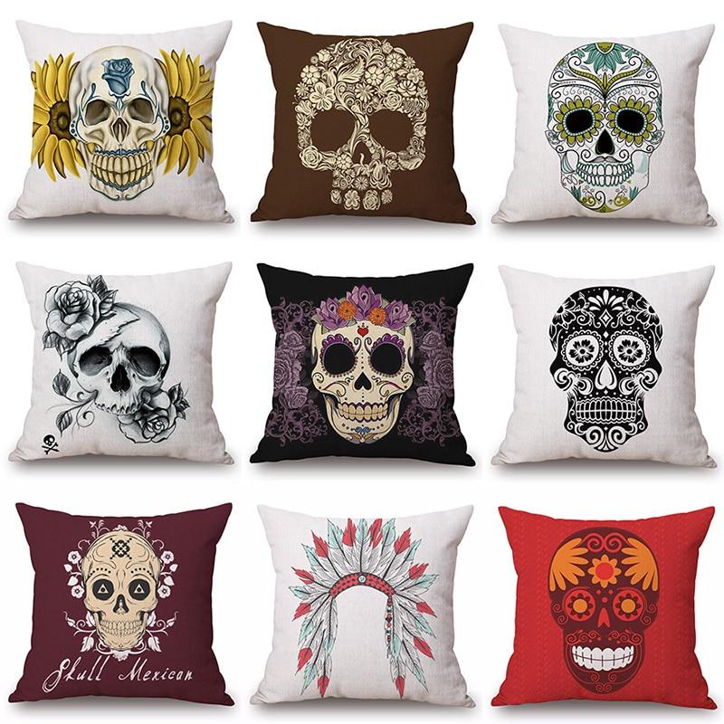 Indian Mexican Skull Printed Cotton Linen Pillowcase Decorative Cushion Pillows Use For Home Sofa Car Office Almofadas Cojines