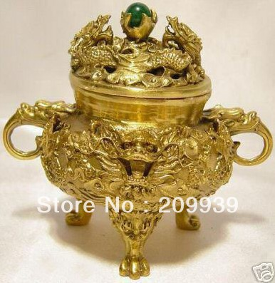 dh 009 Collectible Chinese Brass Kowloon incense burner|burner|burner incense|  - title=