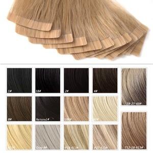 """Image 5 - Neitsi cheveux adhésifs de trame de peau droite aucun ruban Remy dans les Extensions de cheveux humains 12 """"16"""" P14/24K # Double bande latérale couleur Piano"""
