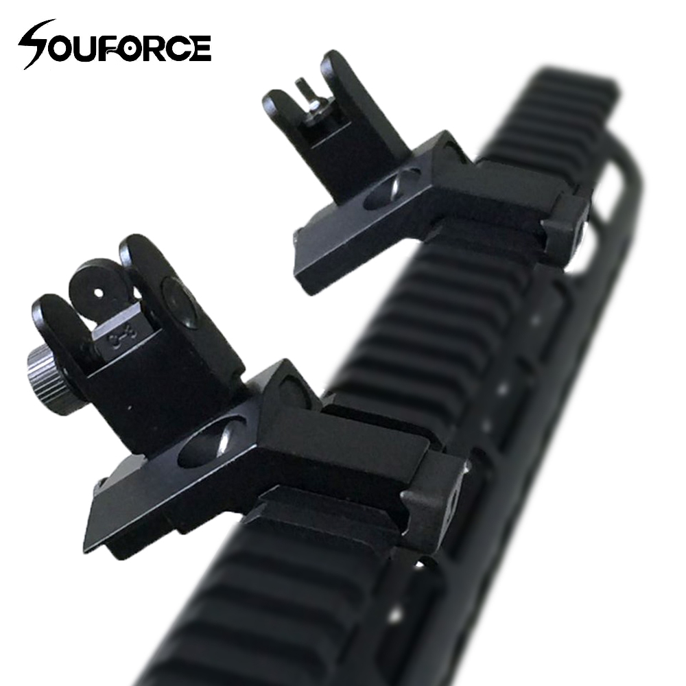 1 Pair Tactical Front And Rear Flip Up 45 Degree Offset Rapid Backup Iron Sight Transition Gun Accessories For Hunting