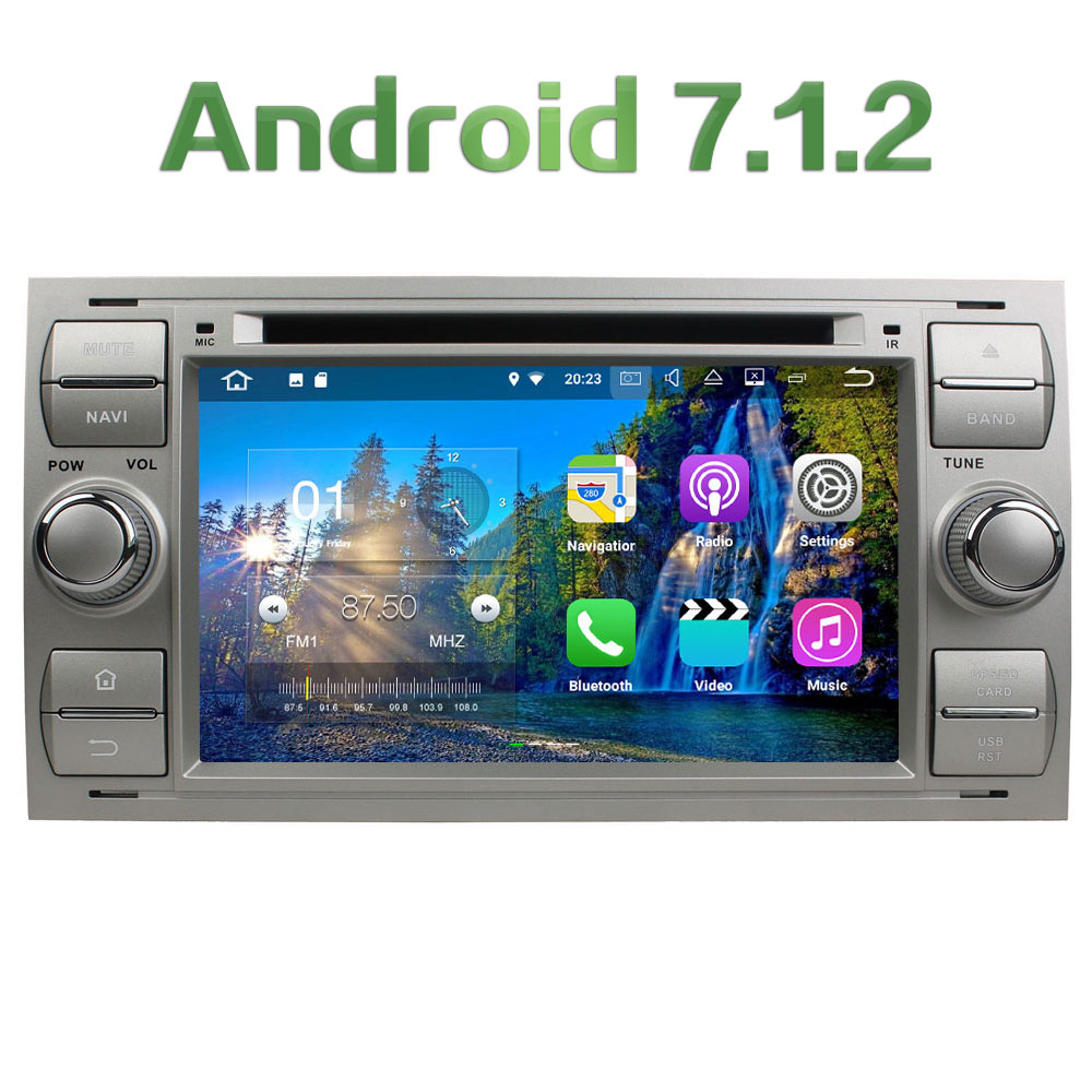 3G 4G WIFI Android 7.1.2 2GB RAM DAB+ Car DVD Player Radio For Ford Transit Fiesta Connect Kuga Mondeo Focus II GPS Navigation
