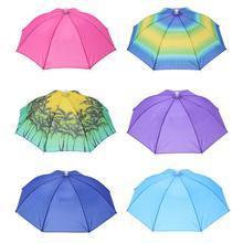 Portable Head Umbrella Hat Fishing Caps Anti-Rain Fishing Anti-Sun Umbrella Hat Adults Children Unis