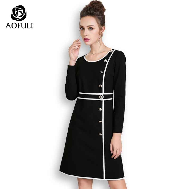 Aofuli Runway Small Black Dress Elegant Brand Long Sleeve Office