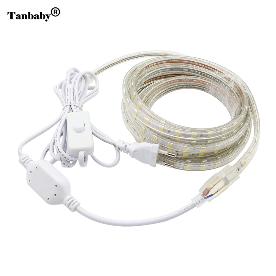 Tanbaby AC220V LED Strip Light SMD 5050 60leds / m IP67 Su / davamlı çevik led lent, ON / OFF açarı 1M / 2M / 3/4/5/6/7/8/9/10 / 20M