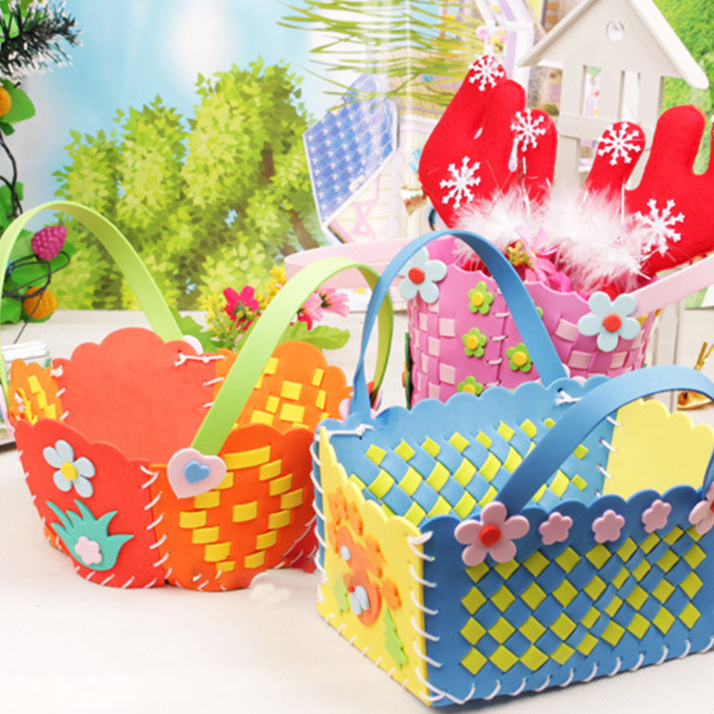 EVA DIY Bags Cute Flower Style Bag Handmade Crafts Cartoon Sewing Backpacks Kids Children Creative Toys Boys Girls Braid Basket