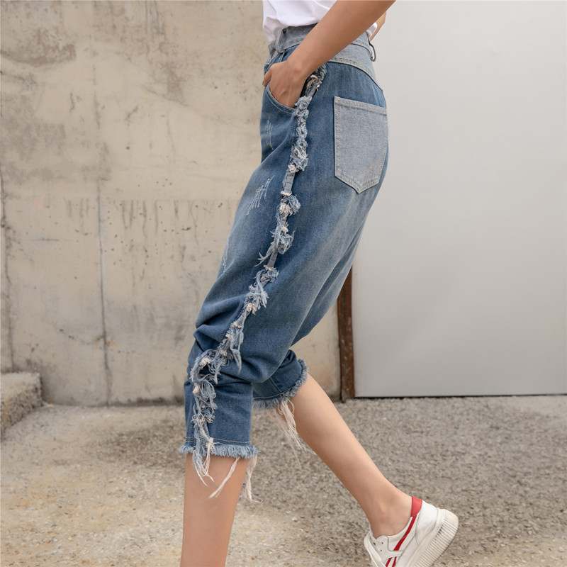 Personality Fashion Streetwear Women Washed Ripped Denim Pants Single-Breasted Tassel Fringed Loose Baggy Harem Jeans Plus Size