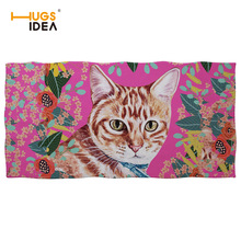 Floral Cat Dog Print Women Men Bath Towel Wearable Beach Soft Wrap Skirt Super Absorbent Pink Quick Dry