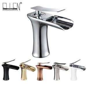 Image 3 - Torneira para banheiro bronze antigo, torneira de cachoeira para banheiro com água quente e fria, misturador de água de níquel elf100