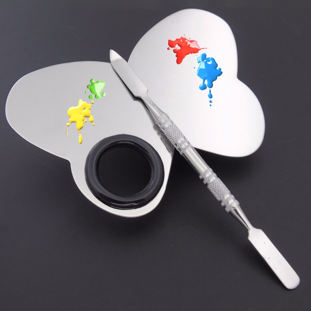 Online color mixer tool - Stainless Steel Cosmetic Makeup Palette Plate Butterfly Shape Beauty Salon Color Cream Mixing Eyeshadow Mixer Tool