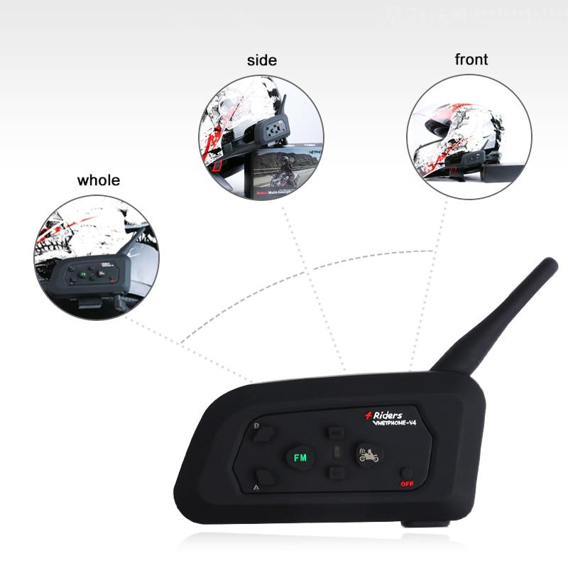 2Pcs 4 Riders Bluetooth Intercom Headset Motorcycle Helmet Moto Communicator Headsets BT Intercom Helmet Headphones V4-1200