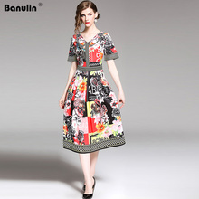 Banulin 2019 New Fashion Runway Summer Dress Womens Short Sleeve Gorgeous Floral Letter Printed Midi Elegat Dresses B8030