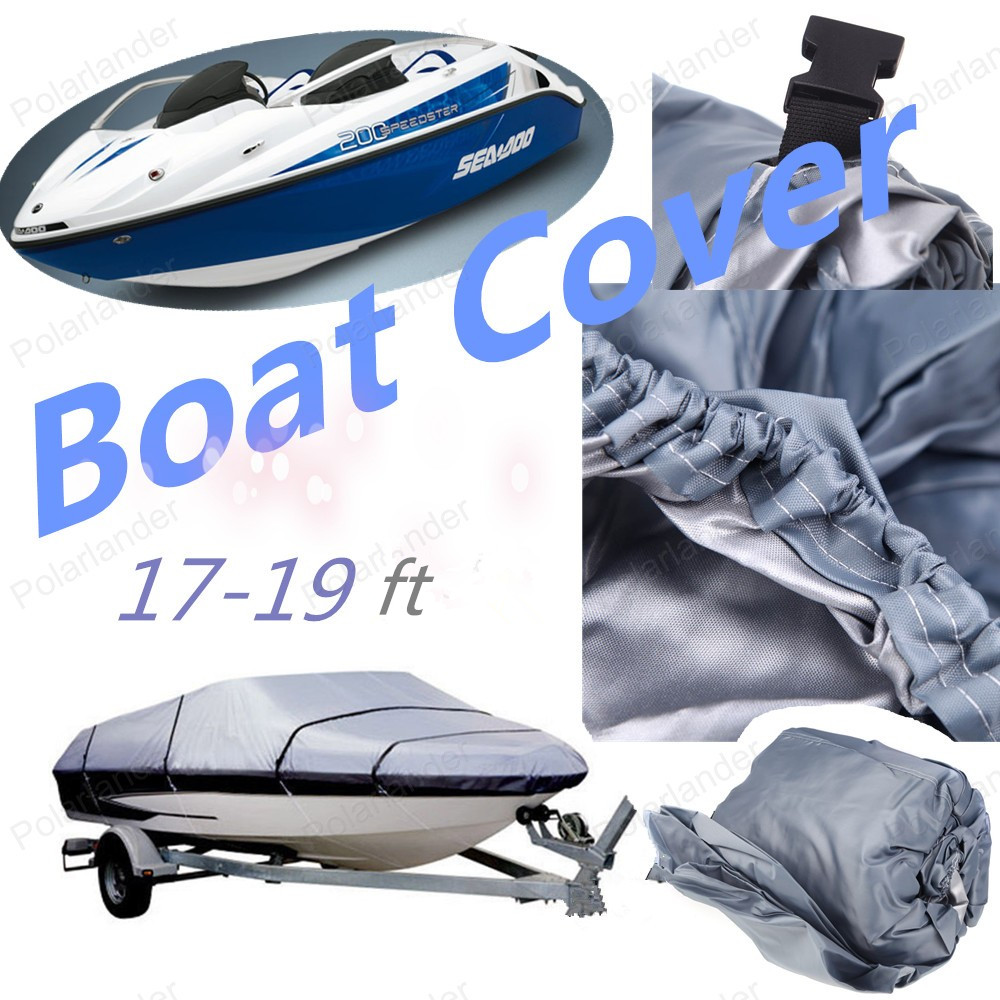 NEW Grey Water Resistant 210D Speedboat Boat Cover UV Snow Protected 17-19ft Beam 125 Trailerable Fish Ski V-Hull Weather Proo