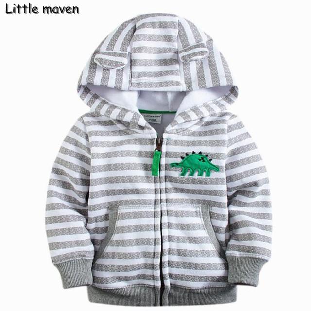 Pouco maven 2016 crianças marca de roupas de inverno meninos casaco listrado com capuz cinza dinossauro algodão Hoodies & Camisolas WY060
