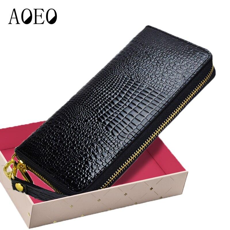 Mujeres de cocodrilo carteras de cuero de cocodrilo monedero hembra titular dinero dólar bolsa señoras oro larga cartera niñas mitón