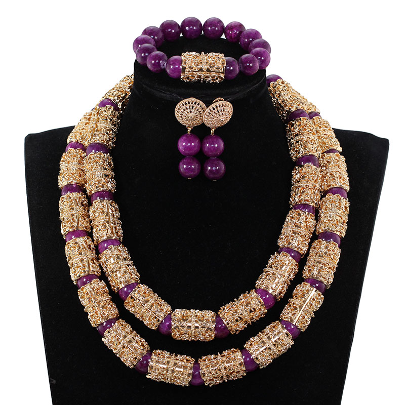 Splendid Navy Blue Nigerian Beaded Women Costume Jewelry Sets Dubai Gold Chunky Statement Necklace Set 2019 WE240