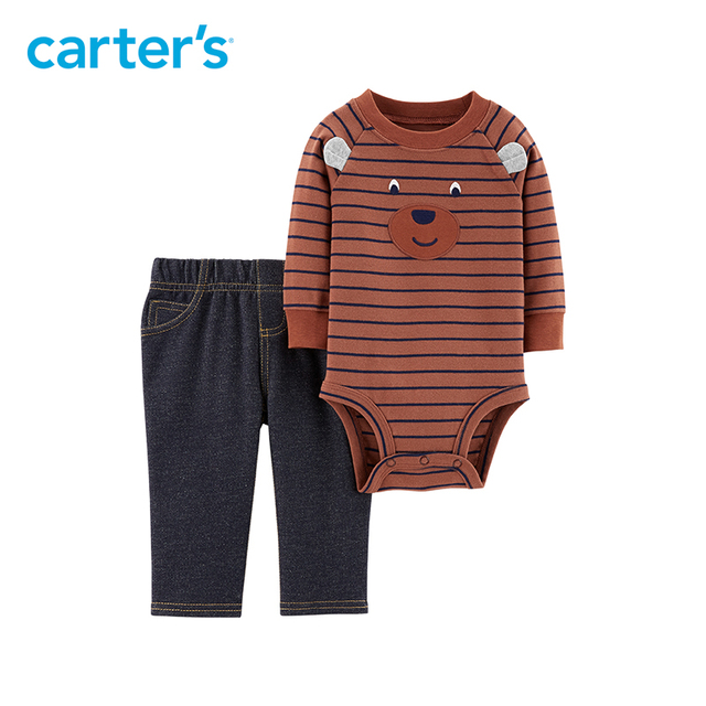 069db96b2 Carter's 2-Piece Bodysuit Pant Set baby boy clothes autumn winter casual  long sleeve bodysuits denim pants clothing set 121I649