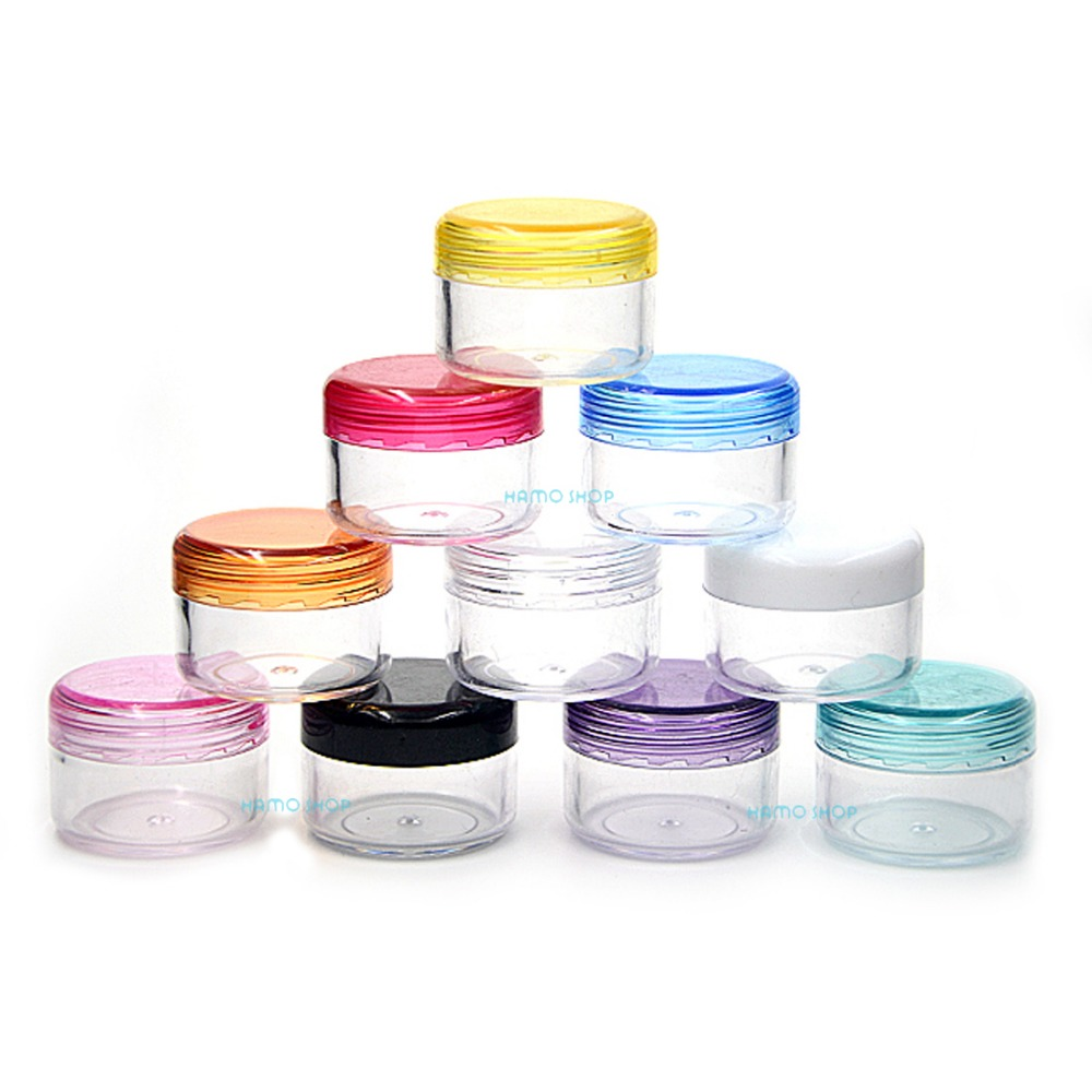 10pcs 5g Mix 10 Colors Round Small Plastic Sample Mini Bottle Jars Vial Cosmetic Portable Empty Container