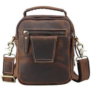 Image 2 - TIANHOO 100% borse a tracolla in vera pelle borsa da uomo in pelle di mucca retrò borse a tracolla borse da scuola multifunzione borse