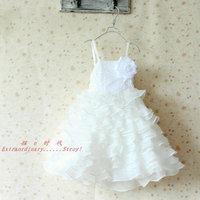 4pcs Lot Summer White Wedding Flower Girls Dresses 2014 New Arrival Party Dresses For Children Beautiful