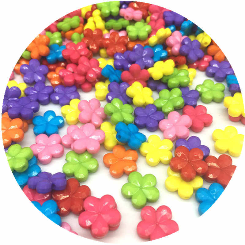 50pcs/Lot 14*4mm New Cheap Colorful Flowers Shape Nonporous Acrylic Beads Fit For DIY Jewelry Making Wholesale Random Send Goods