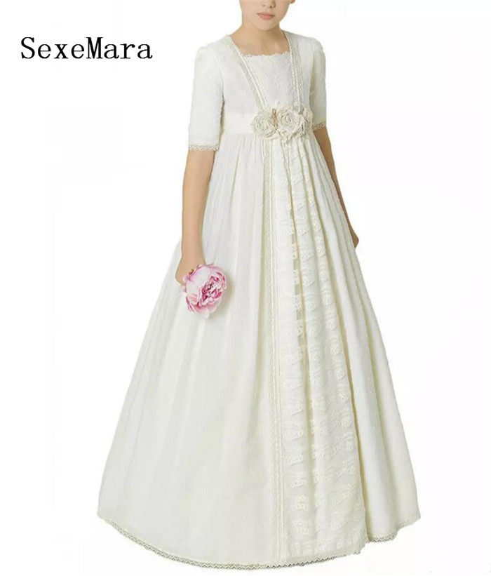 Princess Vintage Lace Flower Girls Dresses Girl Pageant Party Dress Tutu Crew 2018 First Communion Dress Kids Birthday Gown teenage girl party dress children 2016 summer flower lace princess dress junior girls celebration prom gown dresses kids clothes