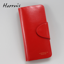 2017 New Genuine leather Harrms brand women wallets purse wholesale fashion leather wallets red color Free shipping