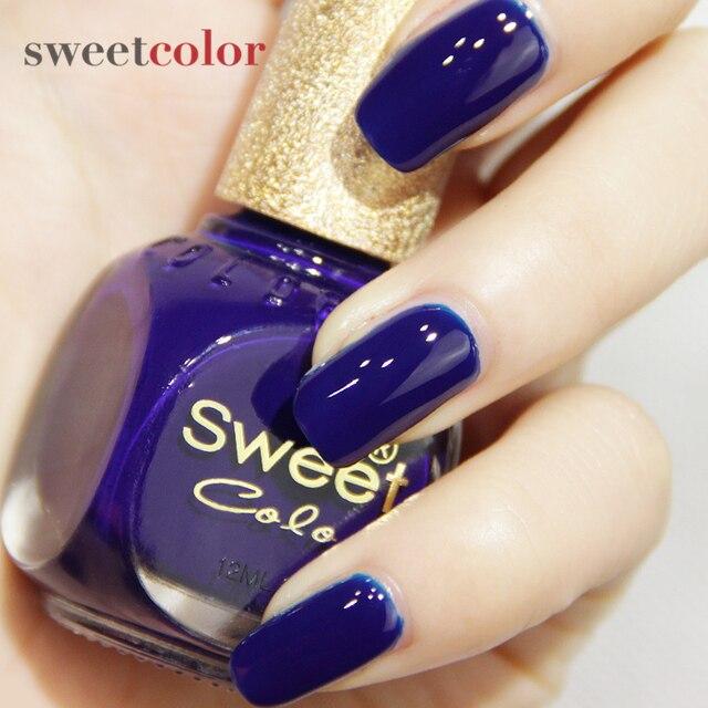 Sweet Color nail polish navy blue sea monster was nontoxic white ...